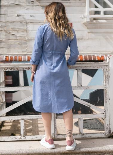 XHAN Kareli Beli Bağcıklı Elbise 0Yxk6-43348-12 Mavi